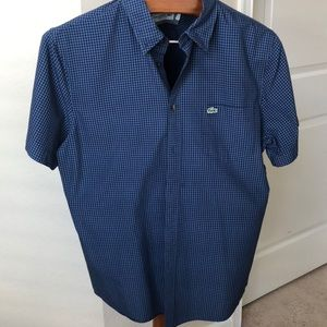Lacoste L blue black checkered short sleeve shirt